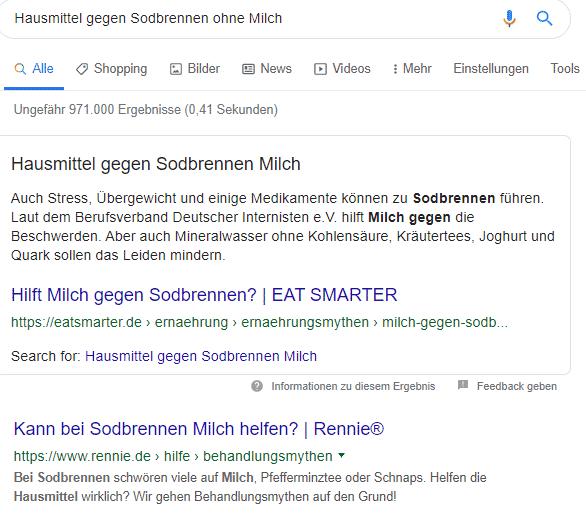 """Screenshot der Suchanfrage """"Hausmittel gegen Sodbrennen ohne Milch""""."""
