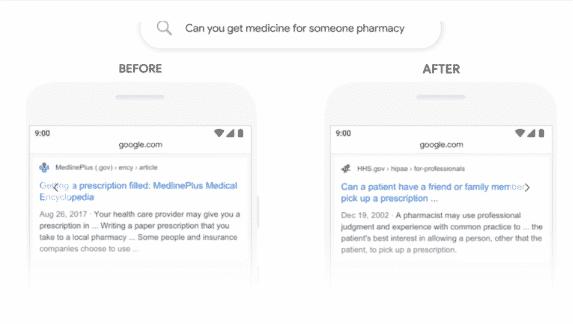 Vorher-Nachher-Vergleich: Eine Suchanfrage zum Einlösen von Rezepten für Bekannte – vor und nach BERT.