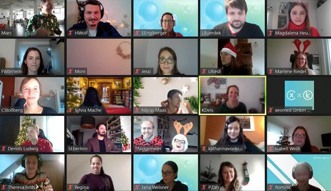 Teamspirit in der Büro-WG bei xeomed: Screenshot der digitalen Weihnachtsfeier im Dezember 2020.